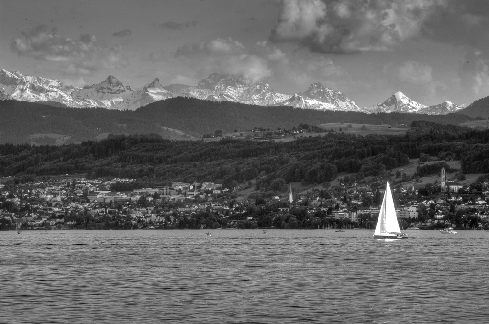 Sailboat in Lake Zurich, Switzerland