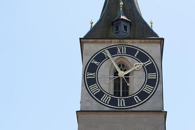 The Clock tower of St. Peter's Church in Zurich, Switzerland