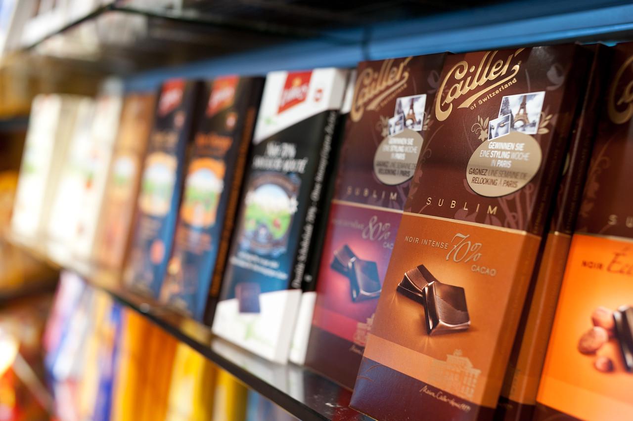 Chocolate bars on a shelf in Zurich, Switzerland