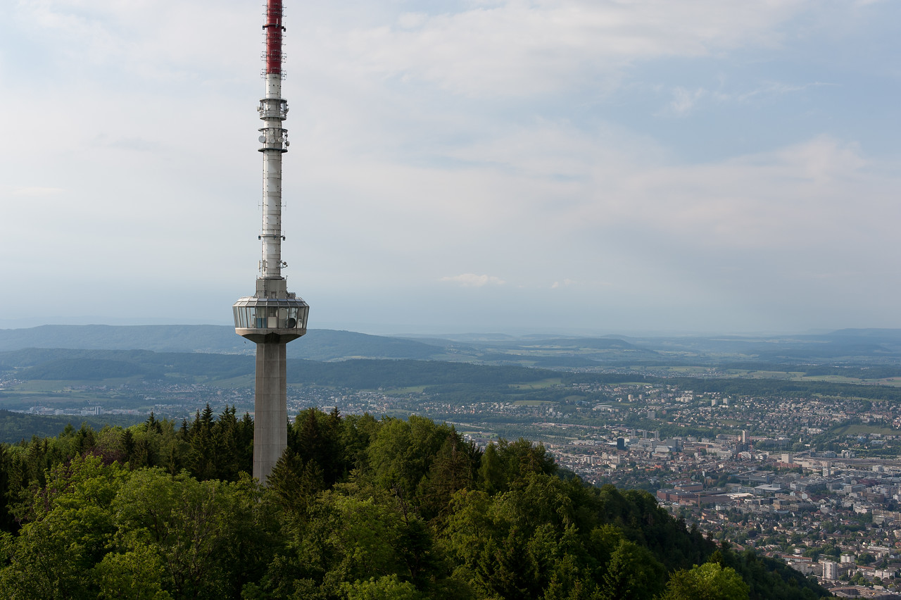 The tower as seen from Uetliberg in Zurich, Switzerland