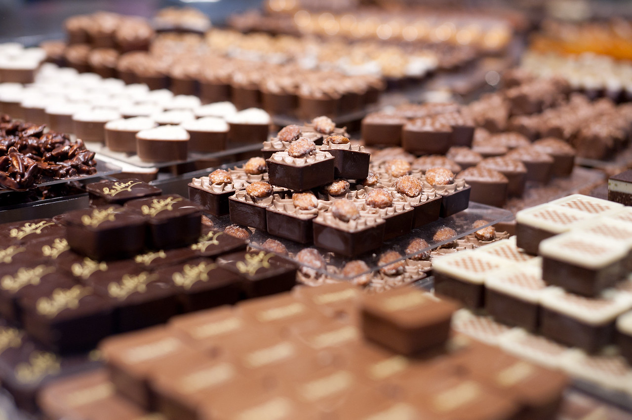 Stacks of different kinds of Swiss chocolates - Zurich, Switzerland