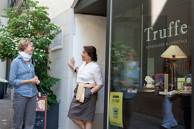 Talking to the proprietor of Truffe in Zurich, Switzerland