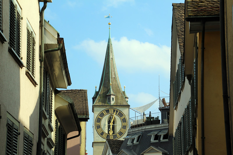 Switzerland, Zurich, St. Peter's Church Clock