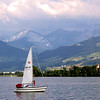 Switzerland, Rapperswil, Sailboat at Twilight