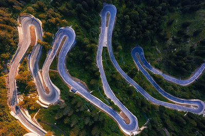 Aerial view of Maloja Pass road in Switzerland