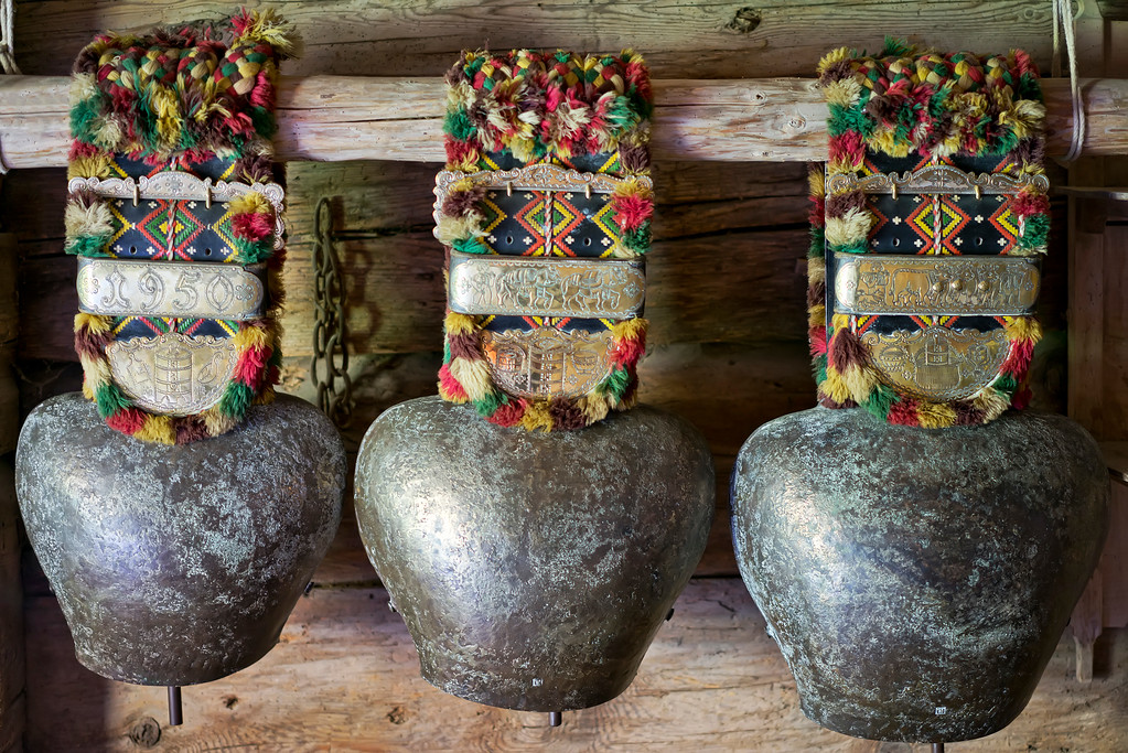 three swiss cowbells