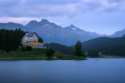 Hotel and Restaurant Waldhaus am See at the lake St. Moritzersee in Switzerland