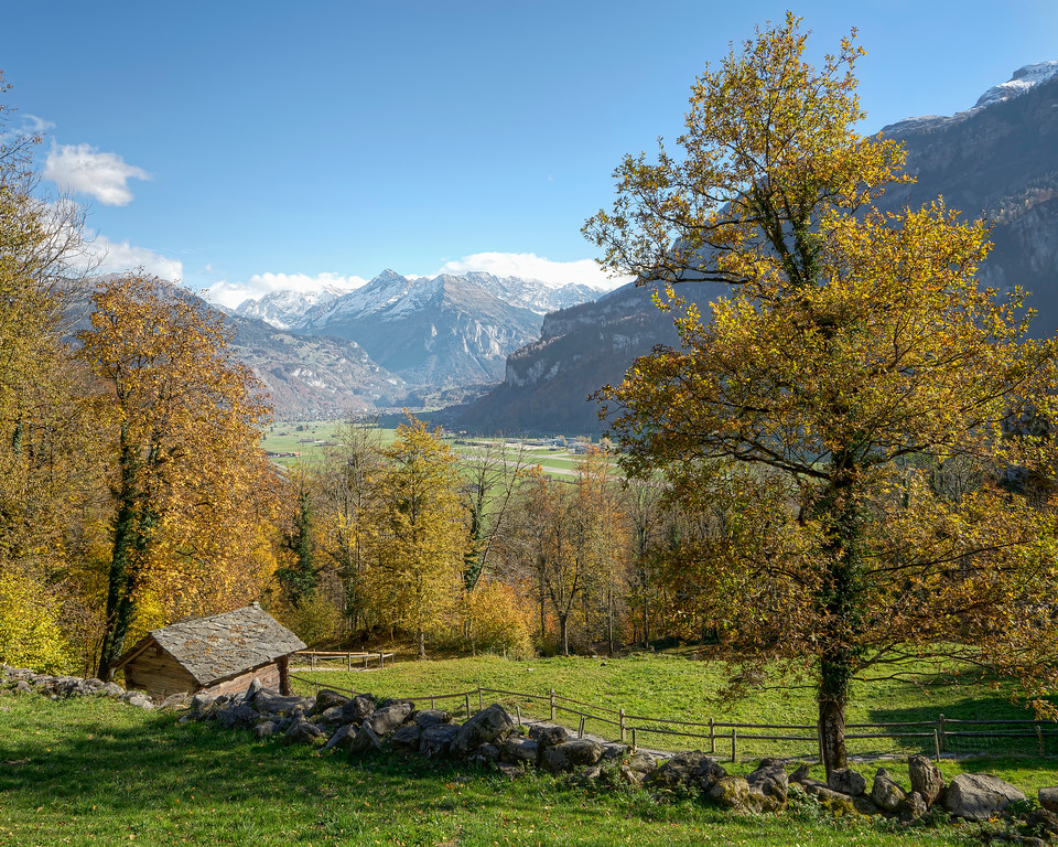 small shed with view of swiss alps in autumn