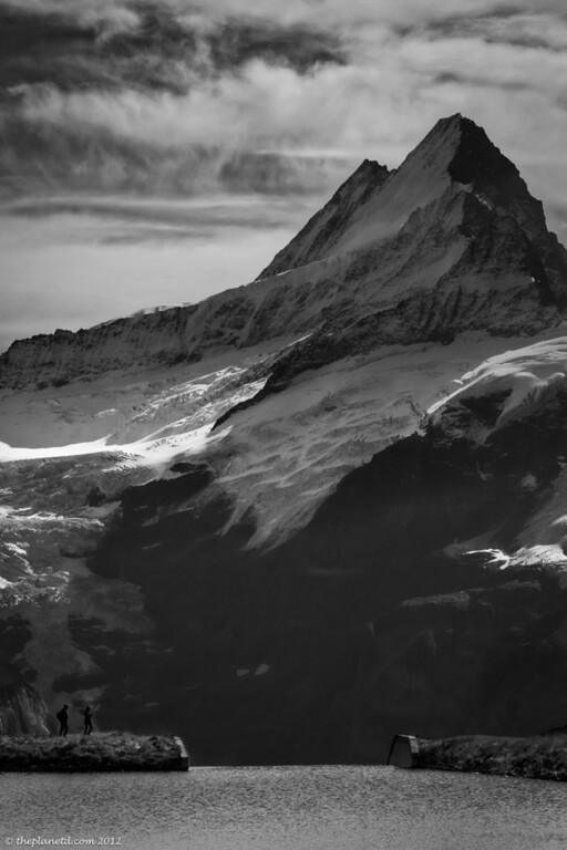 Black and White Travel Photo of Swiss Alps