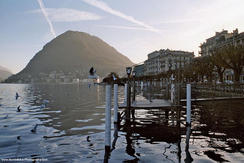 Lago di Lugano and San Salvatore mountain, Lugano, Ticino, Switzerland.