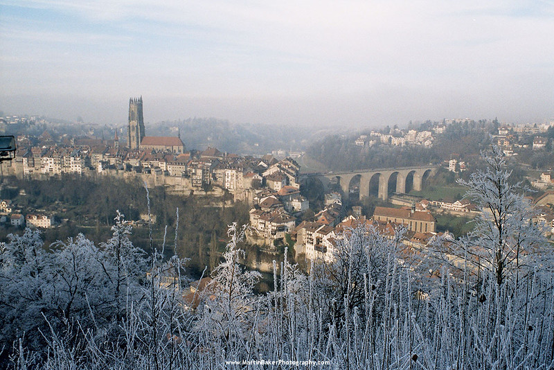 Cathedral of St. Nicolas and Kornhausbrücke, Fribourg, Switzerland.