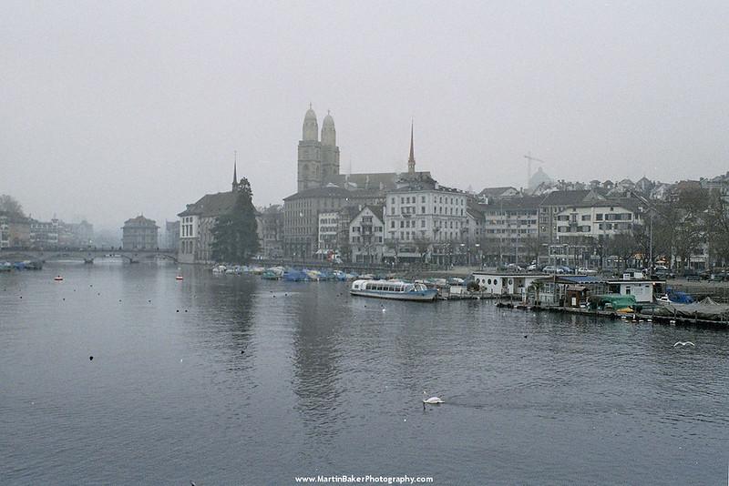 The Grossmünster and river Limmat, Zürich, Switzerland.