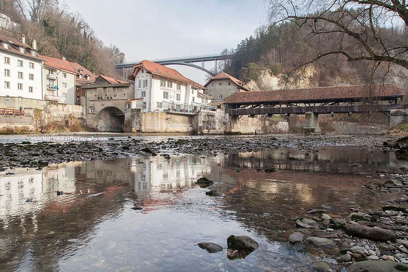 River Sarine and Pont de Berne, Fribourg, Switzerland.