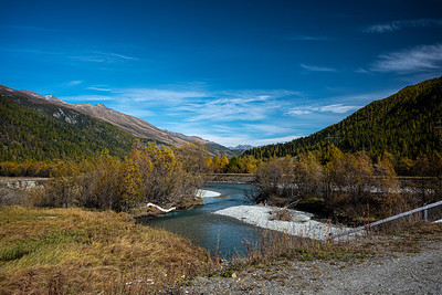 view of river Upper Engadin valley
