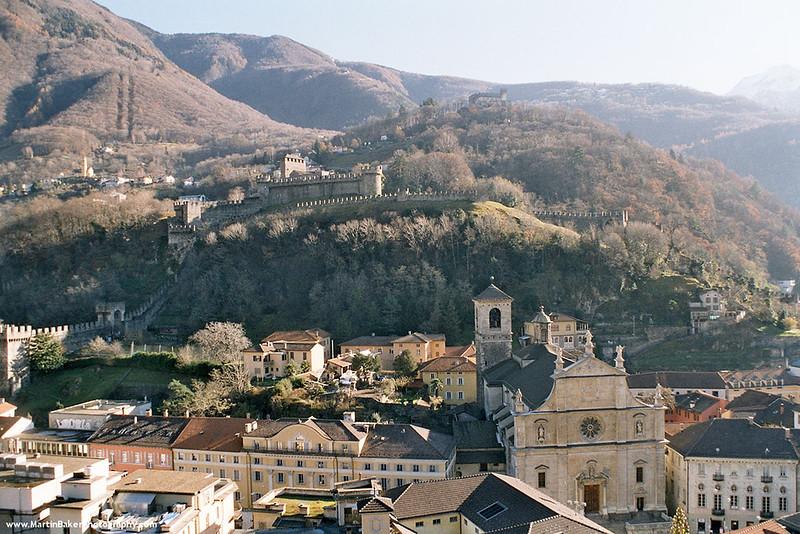 Collegiate Church and Castelgrande, Bellinzona, Ticino, Switzerland.
