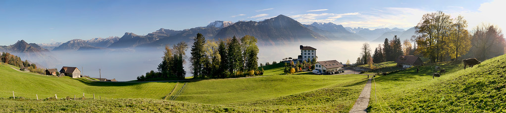 panorama of hotel honegg and mountains in lucern switzerland
