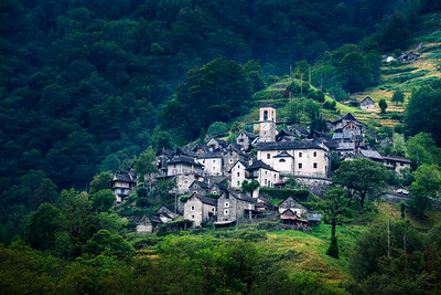 Ancient village of Corippo located near Lavertezzo in Canton Ticino, Switzerland