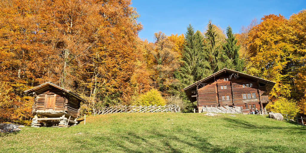 autumn colours and log cabins, Switzerland