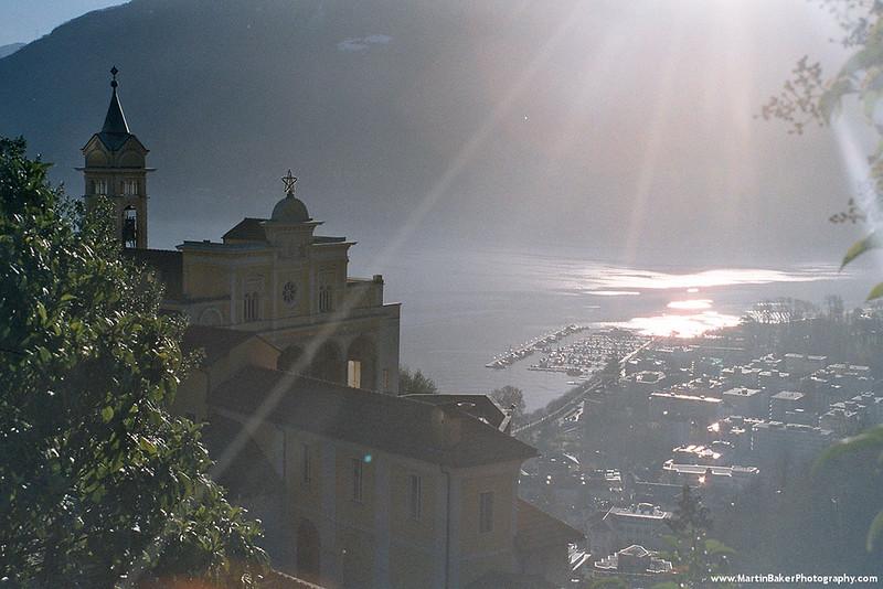 Santuario della Madonna del Sasso and Lake Maggiore, Locarno, Ticino, Switzerland.