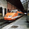 PSE set 83 in original orange livery at Lyon Perrache during the mid 1990s.