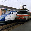 On the 25 September 1997 TGV Réseau set 502 was involved in a collision at a Level Crossing near Bergues in northern France. Fortunately no one was killed and the vehicles of the TGV set were either written off, used to repair other TGVs or used to demonstrate the proposed refurbishment of the rest of the TGV fleet. Shown here is the last remaining power car of set 502 on demonstration duties at Qimper, France next to BB 22238.