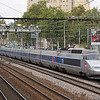 Two PSE TGVs are seen here just south of Lyon Part-Dieu station.