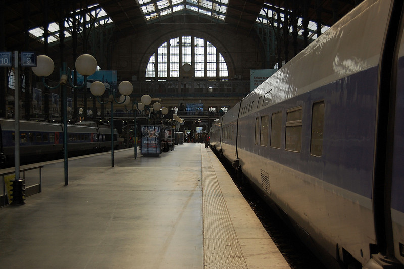 A Paris Sud-Est (PSE) set stands beneath the roof at Paris Gare du Nord.