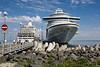 Emerald Princess cruise ship docked in  Tallin, Estonia