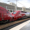 The first and second liveries of Thalys are seen here with two PBKA sets at Paris Gare du Nord on the 19th June 2010.