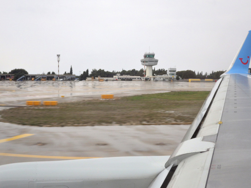 Taxiing to a gate at Dubrovnik Airport,