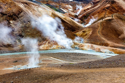 Steam rises from the many geothermal vents which surround it