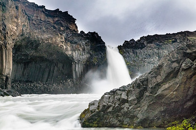 Aldeyjarfoss is surrounded by dramatic deep basalt walls
