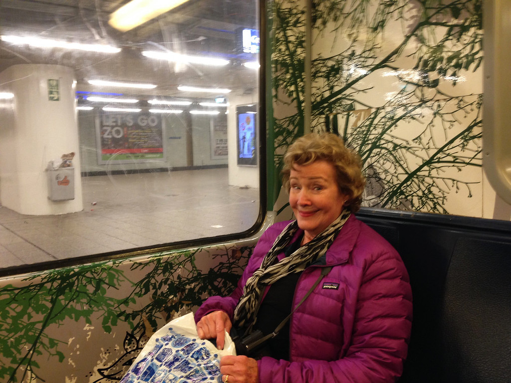 Mom being overtaken by the trees in the Amsterdam subway.