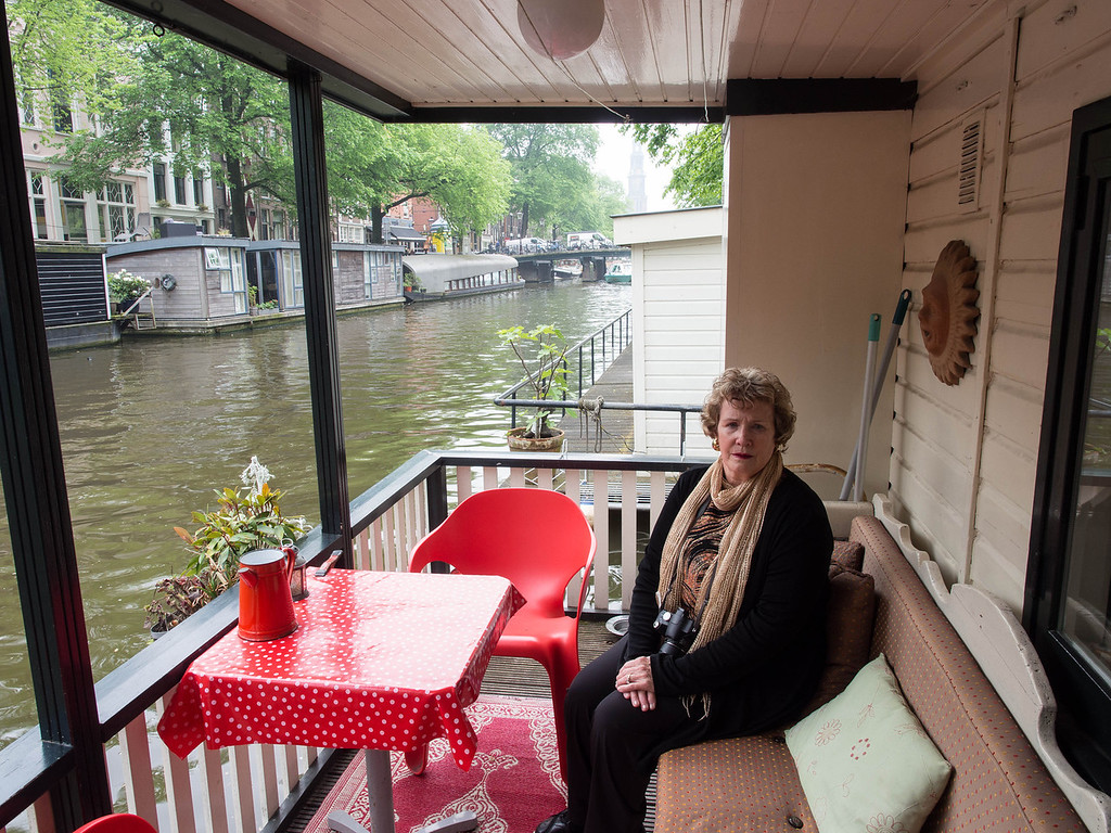 The deck of our houseboat in Amsterdam