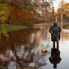 Woman in the pond in Wassenaar De Paauw park