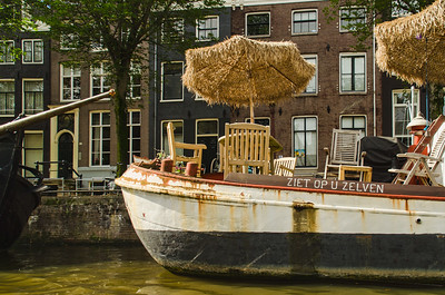 Houseboat along the canal, Amsterdam