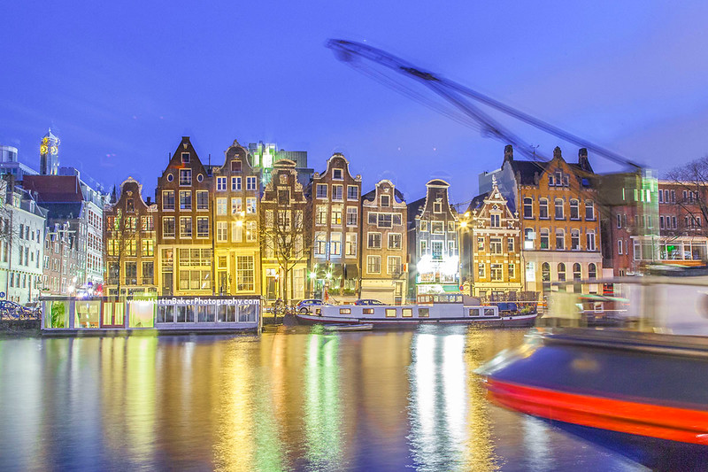 Amstel and River Amstel, Amsterdam, The Netherlands.