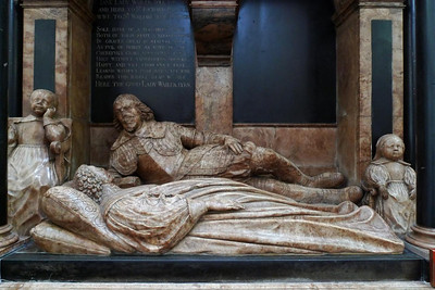 A tomb sculpture in Bath Abbey