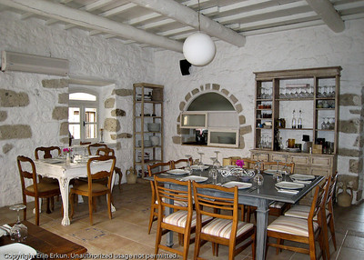 A quaint restaurant in one of the stone houses of Alaçatı.