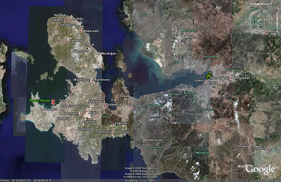 This Google Earth image shows the location of the beach house in relation to İzmir.