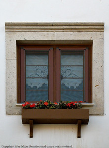 The window box with flowers and the lace curtains give this window a romantic look and feel.