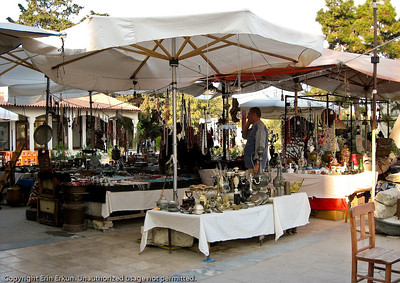 """Bit Pazarı"" (flea market) in the center of Alaçatı.  The vendors would probably prefer to call this an ""antiques market."""