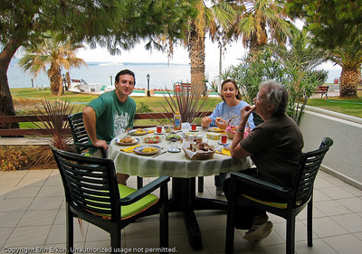 Family breakfast on the lanai of the beach house.