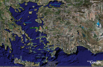 This Google Earth image shows Ardıç (Çeşme) and Alaçatı in relation to İzmir.
