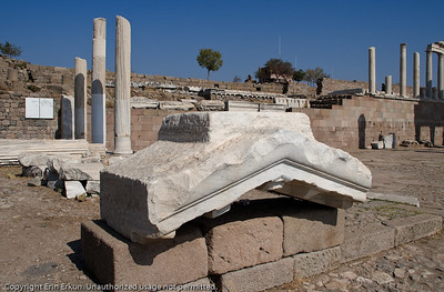 Some of the excavated ruins of the Temple of Trajan at the Acropolis of Pergamum.
