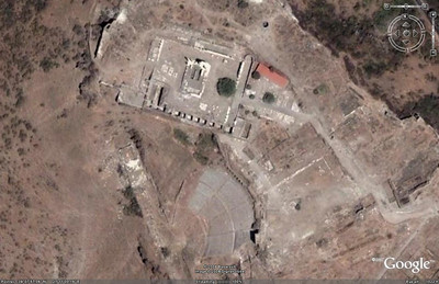 More zoom, and this Google Earth image clearly shows us the two primary sites at the Acropolis of Bergama - the theater (bottom center) and the Temple of Trajan (upper center).
