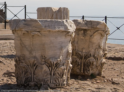 Corinthian capitals on the terrace of the Temple of Trajan at the Acropolis of Pergamum.