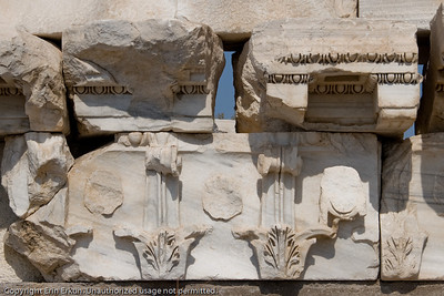 Detail from the partially constructed pediment of the Temple of Trajan.