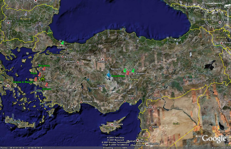 This Google Earth image shows the places I toured during my two-week stay in Turkey.  My home base was İzmir. Places marked with red pushpins (and green names) are the sites visited, while those marked with green pushpins are the cities we flew to and from during the Kapadokya (Cappadocia) portion of the trip.