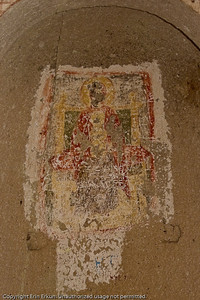 A badly defaced fresco at  the Church of St Simeon.